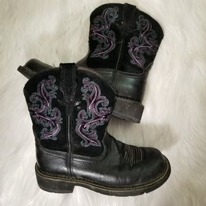 Ariat boots suze 6 black with purple stitching